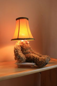 Lamp Bear old teddy bear old lamp shade mood lighting #home #decor www.loveitsomuch.com