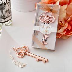 so elegant! Rose Gold Vintage Look Skeleton Key Bottle Opener Wedding Favors- Affordable Elegance Bridal -
