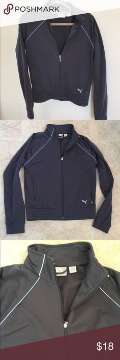 Puma zip up sweatshirt jacket Women's Puma sport lifestyle zipper jacket. Two zipper front pockets and  has a pop of light blue piping around the seams that gives a great sporty look.  Comfortable & warm. Great for outdoor activities or running errands. In great preloved condition! It's in size XS but can fit for Small as well. Comes from smoke free home! 🏡 Puma Jackets & Coats