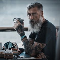 Hipster Haircut For Men Moustache, Hipster Haircut, Beard Love, Men Beard, Beard Cuts, Epic Beard, Grey Beards, Men With Grey Hair, Beard Grooming