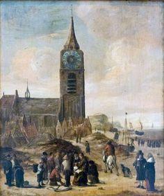 Cornelis Beelt (1630 - 1702). Dorpsgezicht met visafslag op het strand van Scheveningen.