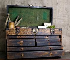 Reserved For Chris Vintage Machinist Wood Tool Box With Yale Lock