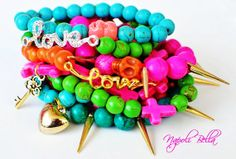 ARM CANDY Beaded Stackable Bracelets Love Spike Skull Cross Bling  - Hot Pink  Green Turquoise