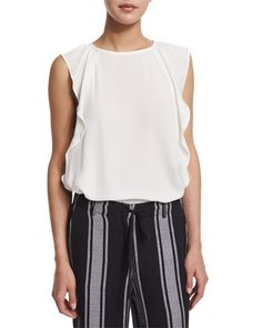 Hiatte Ruffled-Side Silk Top by Joie at Neiman Marcus.