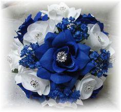 """2 Pc Wedding Bouquet W/Boutonniere. Royal Blue Horizon Blue  """"YOUR COLOR"""""""