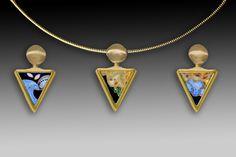 Frances Kite gold and enamel pendants.