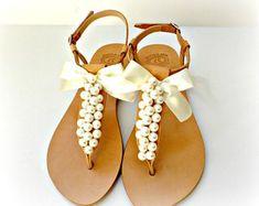 Pearl sandals / Bridal sandals / Wedding sandals / Greek sandals with white pearls / Bridal p. Pearl sandals / Bridal sandals / Wedding sandals / Greek sandals with white pearls / Bridal party / White women& flats / Bridesmaid sandals , Ivory Sandals, Pearl Sandals, Beaded Sandals, Greek Sandals, Leather Sandals, Pearl Shoes, Ivory Shoes, Flat Sandals, Bridesmaid Sandals