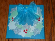 """12"""" x 12"""" Canvas Holly Blue & Green Wreath Picture by KimsCountryCorner on Etsy"""