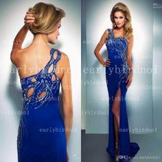 One Shoulder Mac Duggal Royal Blue Prom Dresses