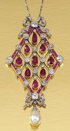 RUBY DIAMOND AND PEARL PENDANT NECKLACE ~ ~ ~  ca.1910 .
