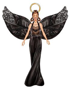 Givenchy Angel wears an unusual black jewel drop nose ring, some black bead pavé hoop earrings, a black racoon tail biker jacket for the wings, an off-the-shoulder silk evening gown and a lace and satin-panel dress.