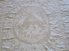Superb vintage French hand embroidered linen & lace bedspread - just gorgeous!  ***SOLD***