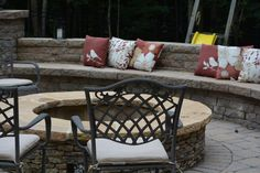 Built-in bench seat  make this fire pit more cozy.