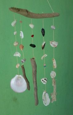 shell and drift wood wind chime