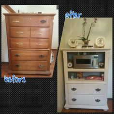 old dresser into a microwave stand