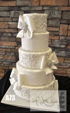 5 Tier Buttercream Wedding Cake | www.alittlecake.com