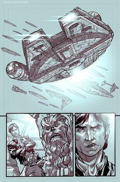 Star Wars - Millenium Falcon, Han Solo and Chewbecca by Carlos D'Anda