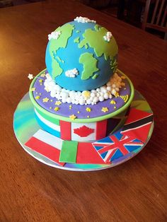 Globe Cake with the country's flags around the base.