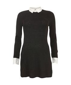 Tokyo Doll Black 2 in 1 Shirt Collar Dress - New Look price: £27.99