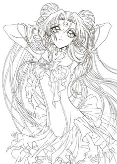Line art drawing of Sailor Moon by sureya. What makes this stand out is because of the intricate details that the artist has paid attention especially on the hair and the dress. - The magic that Sailor Moon brings <3 <3