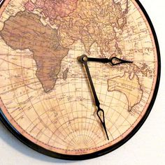 Globe Wall Clock Home and Living Map Clock by Shannybeebo