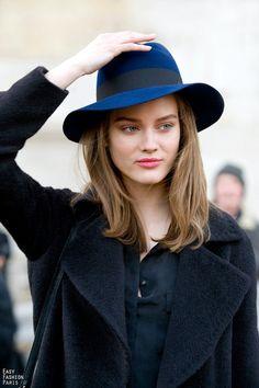 the cobalt blue+black hat.