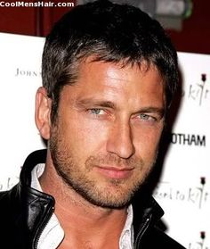 Picture of Gerard Butler caesar cut style for men.