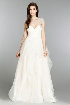 satin,organza keyhole back v-neck empire a-line wedding dress - gopromdres.com