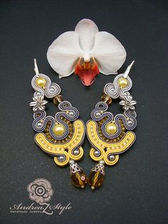 Hand embroided statement grey and yellow soutache от AndreaZstyle