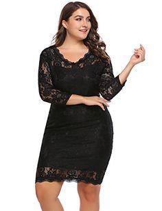 fa9e257ee5f Involand Womens Plus Size 3 4 Sleeve Elegant Floral Lace ... https