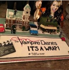 This is truly the best tv show ever and this is truly the best cake ever. I love all of the people on this tv show because they are who have brought the characters to life and they are super talented actors and actresses that no one else can replace them. Oh and the music in every epidode is on point. #TVD Wrap Party #Tvd Forever
