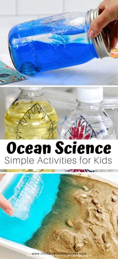 Ocean science activities for kindergarten and preschool ocean theme and beach learning. Make ocean slime, beach discovery bottles, sand slime, wave bottles, measure shells, grow crystal seashells, and more summer science ideas for kids.