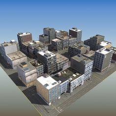 commercial city block 3d model - RT Shop Block A... by ES3DStudios