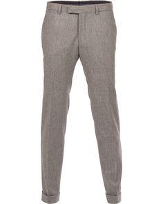 Oscar Jacobson Dean Turn Up Flanel Trousers Light Grey hos CareOf