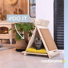 DIY: Fabriquez un tipi en bois pour votre chat. Diy Furniture On A Budget, Dog Furniture, Diy Furniture Plans, Diy Cat Tent, Cat House Diy, Cat Playground, Cat Enclosure, Cat Scratcher, Cat Room