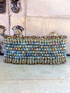 Steampunk Peyote Stitch Czech Glass Cuff~Antique Brass Chain Link Hardware~Vintage Blues Halo Line~Peyote Passionista by Country Chic Charms