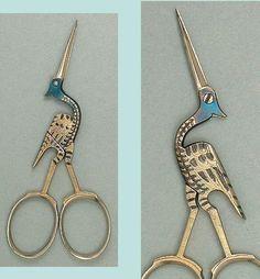 Special Antique Steel Stork Scissors * Germany * Circa 1900