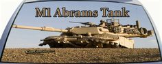 US Marine Corps M1 Abrams Tank Rear Window Graphic Mural.  Sport the most current US military tank on the back window of your vehicle.