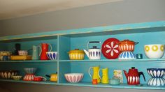 Vintage enamelware by MidCenturyMama, via Flickr (part of a larger collection)