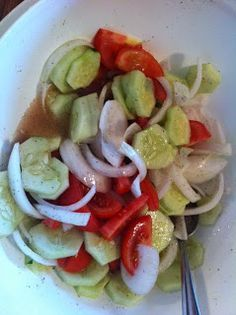 Marinated Cucumbers, Tomatoes & Onions - Perfect for a summer cookout