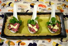 1000 images about appetizer spoons on pinterest spoons for Edible canape spoons