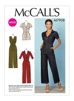 Misses'/Miss Petite Jumpsuits/Rompers With Neckline, Sleeve And Length Variations - McCall's Sewing Petite Jumpsuit, Short Jumpsuit, Casual Jumpsuit, Mccalls Sewing Patterns, Vogue Patterns, Pdf Patterns, Sewing Clothes, Diy Clothes, Clothing Patterns