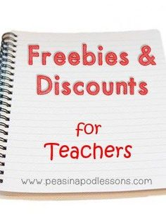 Freebies & Discounts for Teachers! - Peas in a Pod Lessons Discounts For Teachers, Teachers Pay Teachers Freebies, Teacher Freebies, Classroom Freebies, Teacher Resources, Teacher Blogs, Classroom Resources, Teacher Stuff, Classroom Ideas