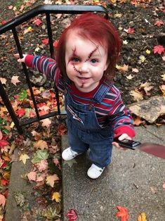 Our two year old daughter. Because when big sis wants to dress up as Jason Voorhees what better side kick than Chucky? Our two year old daughter. Because when big sis wants to dress up as Jason Voorhees what better side kick than Chucky? Guys Halloween Makeup, Scary Kids Halloween Costumes, Chucky Halloween, Baby Halloween, Jason Voorhees Halloween Costume, Jason Vorhees Costume, Baby Chucky Costume, Scary Baby Costume, Costume Makeup