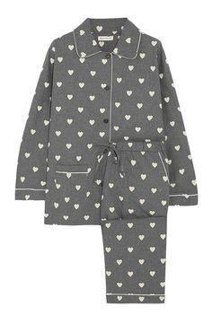 cute gray pjs with heart pattern
