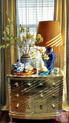 FOCAL POINT STYLING: THRIFT LATTICE LAMP REVAMP & SPRING VIGNETTE