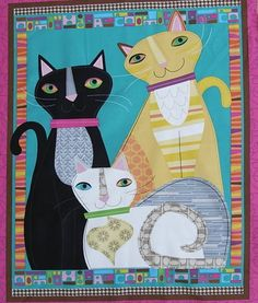 Cat Walk Patchwork Quilting Panel from calicocottagecrafts