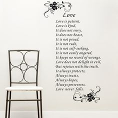 Find More Wall Stickers Information about large size Love is patient love is kind white brown art Vinyl Bible verses Wall Quote stickers home decor decals free shipping,High Quality decal supplier,China decal notebook Suppliers, Cheap decorative tile decals from walls tale on Aliexpress.com