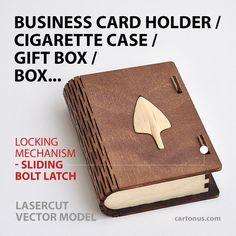 Wooden box with sliding bolt latch. Laser cut vector by cartonus