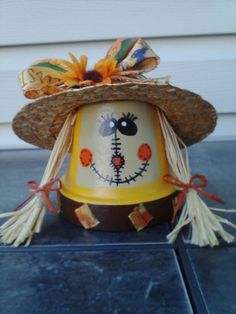 Fall decor. Clay pot scarecrow with straw hat. by AJewelOfACraft